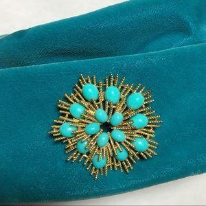 Turquoise Starburst Vintage Brooch